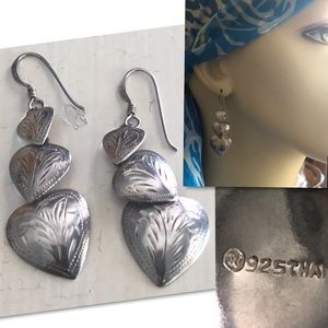 Jewelry - 925 SILVER TRIPLE HEART TOOLED DANGLE EARRINGS